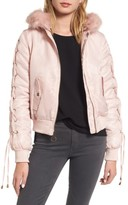 Kensie Women's Lace-Up Sleeve Quilted Bomber Jacket