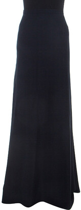 Armani Collezioni Navy Blue Flared Bottom Cady Maxi Skirt S