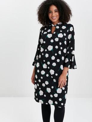 Evans Neutral Floral Twist Neck Dress - Black