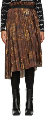 Balenciaga Brown Floral Pleated Skirt