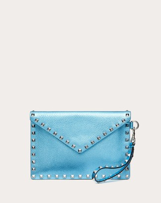 Valentino Medium Rockstud Metallic Grainy Calfskin Envelope Pouch With Detachable Strap Women Azure 100% Pelle Di Vitello - Bos Taurus OneSize