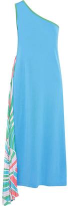 Emilio Pucci One-shoulder Pleated Printed Cotton-blend Midi Dress