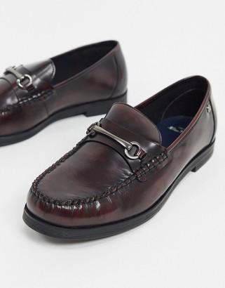 Ben Sherman metal bit leather loafers in bordeaux leather