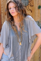 Blue Life Angel Top with Fringe in Lightening Storm