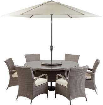 Seychelles Argos Home 6 Seater Rattan Effect Patio Set -Grey