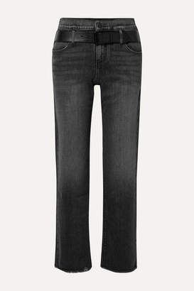 RtA Dexter Belted Frayed High-rise Straight-leg Jeans - Black