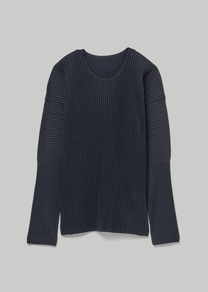 Issey Miyake Homme Plisse Men's Basics Long Sleeve T-Shirt in Navy Size 2 100% Polyester
