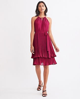 Ann Taylor Petite Polka Dot Tiered Halter Dress