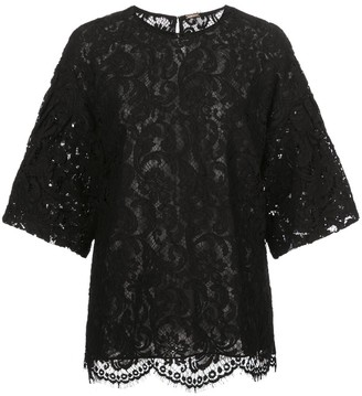 Adam Lippes Short Bell-Sleeved Lace Top