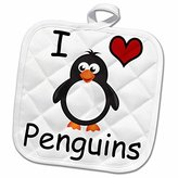 3dRose EvaDane - Funny Cartoons - I love penguins - 8x8 Potholder (phl_123042_1)