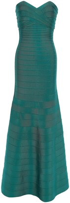 Herve Leger Strapless Fluted Bandage Gown