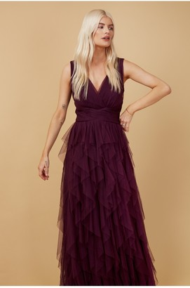 Little Mistress Bridesmaid Leonora Plum Ruffle Mesh Maxi Dress