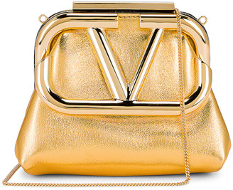 Valentino Mini Clutch in Soft Gold | FWRD