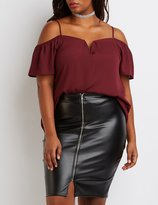 Charlotte Russe Plus Size Notched Cold Shoulder Top
