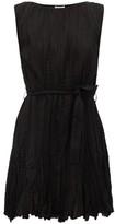 Mes Demoiselles Carla Waist-tie Plisse-cotton Mini Dress - Womens - Black