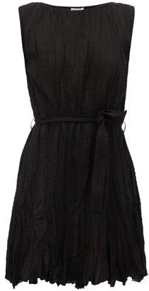 Mes Demoiselles Carla Waist-tie Plisse-cotton Mini Dress - Black