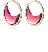 Noor Fares Chandra Crescent Earrings in Yellow Gold with Garnet Crescents & Diamonds