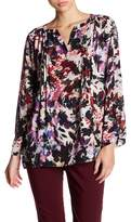 Chaus Split Neck Long Sleeve Print Blouse