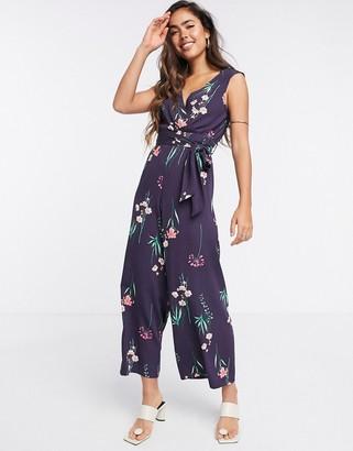 Liquorish sleeveless jumpsuit in purple floral