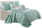 Serenta Birdsong 6-Piece Bed Spread Set, Teal/Turquoise, Cal King