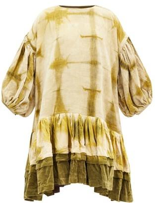 Story mfg. Verity Clamp-dyed Organic-cotton Velvet Dress - Green White