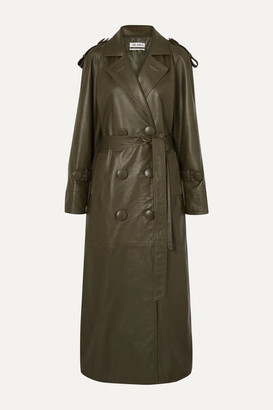 ATTICO The Belted Leather Trench Coat - Army green