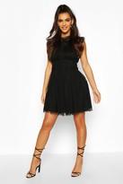 boohoo Crochet Lace Sleeveless Skater Dress