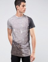 Religion T-Shirt with Marble Print and Curved Hem