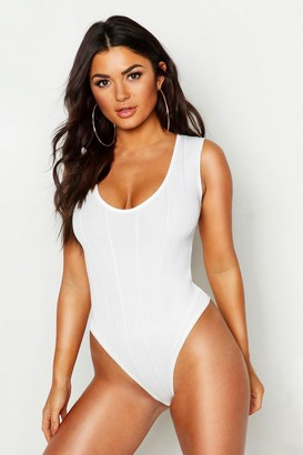 boohoo Bandage Rib V Neck Sleeveless Bodysuit