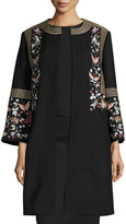 Vilshenko Embroidered Wool-Blend Coat, Black/Multi