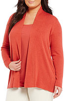 Eileen Fisher Plus Elongated Open Front Cardigan