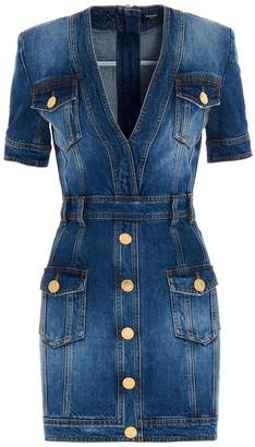 Balmain Embellished Mini Denim Dress