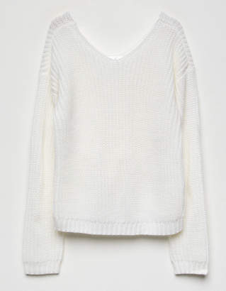 White Fawn Knot Cream Girls Sweater