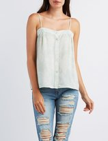 Charlotte Russe Paisley Button-Up Tank Top