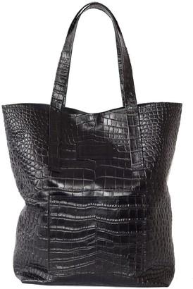 """Kartu Studio Natural Leather Tote Bag """"Mustard"""" Black Reptile Print"""