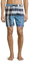 Burberry Gowers Check Swim Trunks, Blue