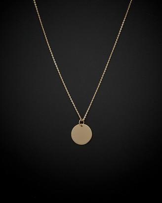 Italian Gold 14K Engravable Disc Necklace