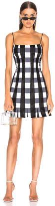 Rasario Checked Satin Mini Dress in Black & White | FWRD