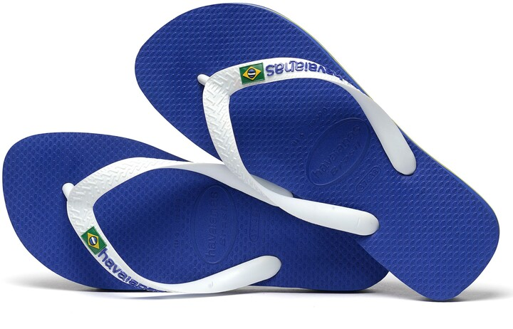 Thumbnail for your product : Havaianas Brasil Logo Flip Flops, Blue/White