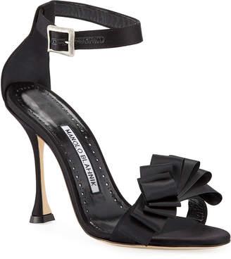 Manolo Blahnik Vinka Chaos 105mm Ruched Ribbon Sandals