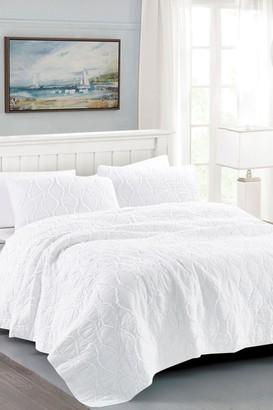 California Design Den Full/Queen Wavy S Ruffled Quilt Set - Bright White