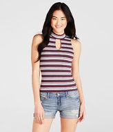 Aeropostale Womens Striped Ribbed Mock-Neck Tank Shirt
