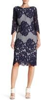 Sangria Lace 3/4 Length Sleeve Dress