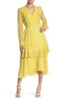 MelloDay Long Sleeve Tiered Floral Print Lace Trim Midi Dress