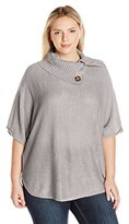NY Collection Women's Plus Size Dolman Slv Split Crew Neck Rounded Bottom Pullover