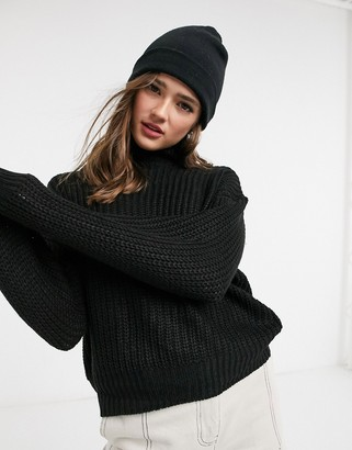 Threadbare grace chunky fisherman knit high neck sweater