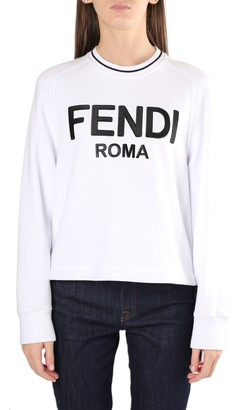 Fendi Roma Logo Jersey Cotton Sweatshirt