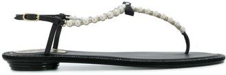 Rene Caovilla Pearl Embellished Thong Sandals