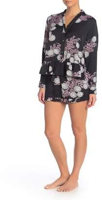 Josie Floral Ruffled Long Sleeve Top & Shorts Pajama 2-Piece Set
