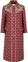 Gucci Metallic Jacquard Coat - Red